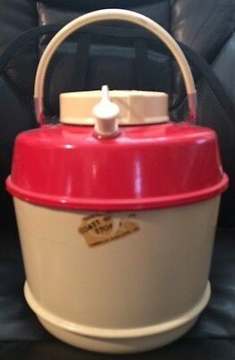 Vintage Red And Tan Aluminum Camping Cooler Insulated