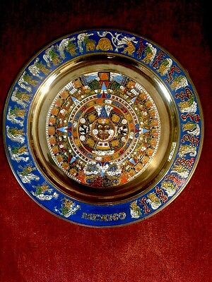 Vintage Copper And Enamel Imprinted Mayan Astec Calendar 11 Inch Plate Mexico