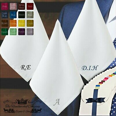 Personalised Premium Quality 100% White Cotton Handkerchief Initials Letter 40cm