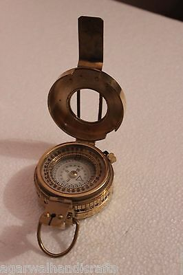 """2.25/"""" Military British Prismatic Compass Antique Solid Brass Vintage Finish"""