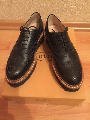 b1ca22314b TOD'S women shoes Black leather brogues oxford with platform size 8 us; ...