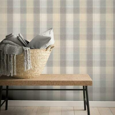 Beige and Grey Country Check Wallpaper by Arthouse 901902