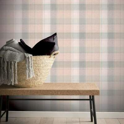 Pink and Grey Country Check Wallpaper by Arthouse 901900