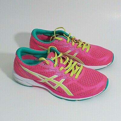 f6aa5c272183 ASICS T457N Womens 7.5 Gel DS Racer Running Athletic Tennis Shoes Pink  Yellow