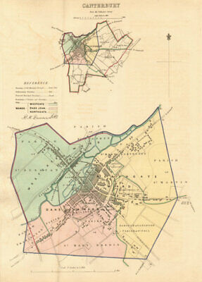 CANTERBURY borough/town plan. BOUNDARY REVIEW. Kent. DAWSON 1837 old map