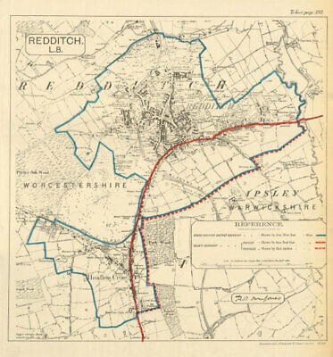 Redditch. JONES. PARLIAMENTARY BOUNDARY COMMISSION 1888 old antique map chart