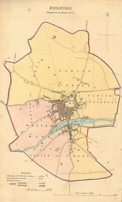 BEDFORD borough/town plan. BOUNDARY REVIEW. Bedfordshire. DAWSON 1837 old map
