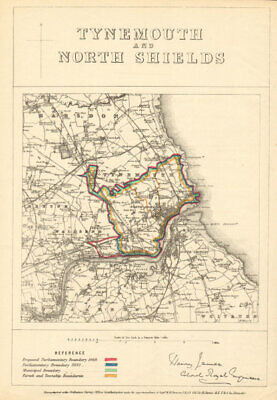 Tynemouth and North Shields. JAMES. PARLIAMENTARY BOUNDARY COMMISSION 1868 map