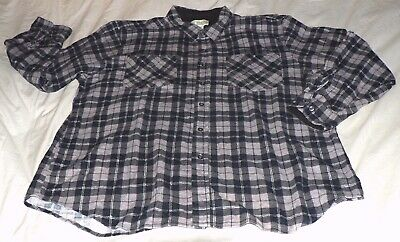 96bc9685 HABAND Men's XXL Gray Black White Plaid Cotton Soft-Brushed Flannel LS Shirt  EUC