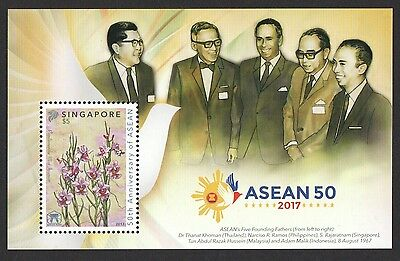 Singapore 2017 50Th Anniversary Of Asean Joint Stamp Issue Collector's Sheet Mnh