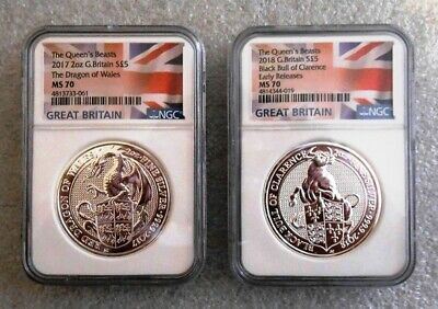 Two  2 Oz. Silver Coins Great Britain Queen Beast Dragon & Black Bull - Ngc Ms70