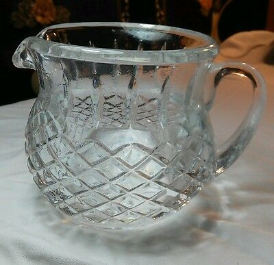 Vintage Heavy Cut Crystal Pitcher Diamond Pineapple Starburst Pattern 20 oz Capa