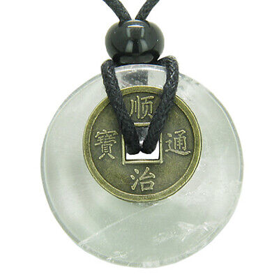 Antique Lucky Coin Evil Eye Protection Powers Amulet Crystal Quartz Gemstone 30m