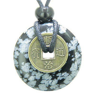 Antique Lucky Coin Evil Eye Protection Powers Amulet Snowflake Obsidian Gemstone