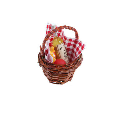 1:12 Dollhouse Miniature Food Basket Doll House For A Picnic Accessories WG