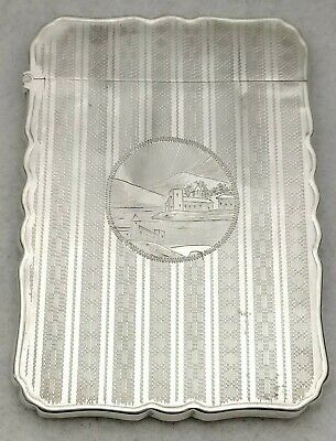Antique Sterling Silver Hand Engraved Calling Card Business Card Case