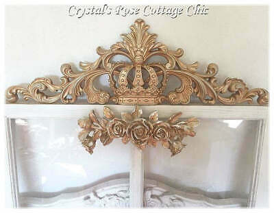 Ornate Vintage Distressed Gold Crown Wall Decor/Furniture Applique,Color Choice
