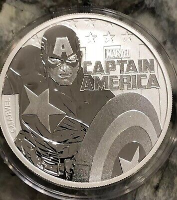 2019 Tuvalu Captain America Marvel Comics 1 oz .999 Silver Capsulated Coin BU