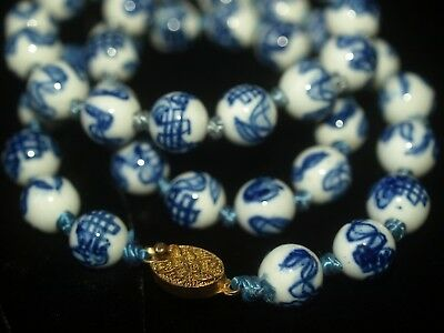 """Vintage Asian Chinese Blue White Porcelain Hand Painted Round Bead Necklace 24"""""""