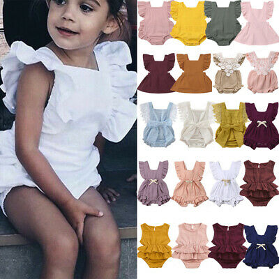 Newborn Infant Baby Girl Ruffles Backcross Romper Bodysuit Jumpsuit/Dress Outfit