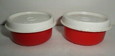 Tupperware Smidgets Mini Containers Red With White Lids  ~ Set of 2