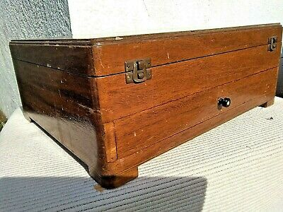 Large Antique Vintage Art Deco Wooden Cutlery Canteen Box / Storage Box
