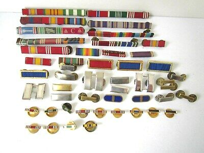 Vintage Military Ribbon Bar Pins & Lapel Buttons, Mixed Lot of 48