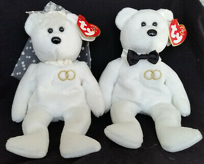 be4739b046e Ty Beanie Baby 2001 Mr and Mrs Bear Bride and Groom Wedding Teddy Set of 2