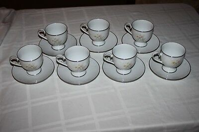 Lot of 7 Vintage Noritake Ireland ANTICIPATION #2963 Footed Tea Cup and Saucers