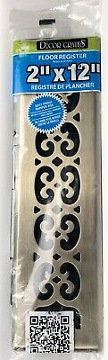 "Decor Grates SPH212-A 2"" x 12"" Scroll Floor Register, Steel Plated Ships Fast!"