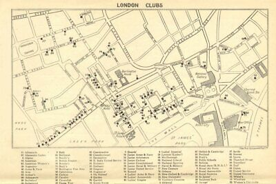 LONDON GENTLEMENS CLUBS. St James's Mayfair Piccadilly Whitehall 1930 old map