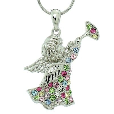 Angel Guardian Made With Swarovski Crystal Trumpet Pendant Multi Color Necklace