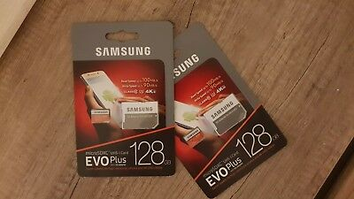 2 Pack Samsung MB-MC128GA/EU EVO Plus 128GB UHS-I Class U3 MicroSD Card adapter