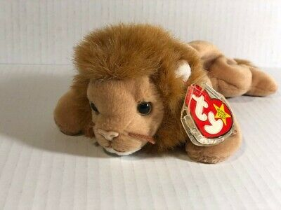 179dca7c9f9 1996 Roary Lion Ty Beanie Baby Rare Sticker Correction + Multiple Errors  vintage