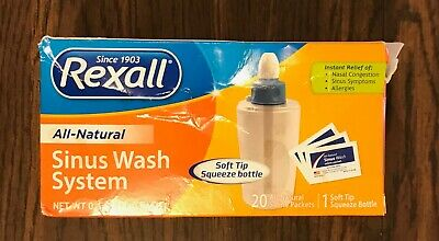 NEW Rexall All-Natural Sinus Wash System Bottle & 20 Saline Packets Exp 6/21