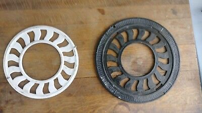 2 PC Ornate Cast Iron Heat Ring Chimney Flue Cover heat grate