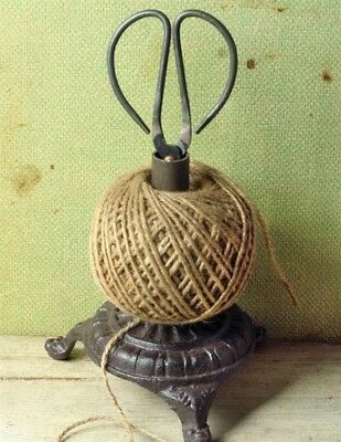 Victorian Trading Co Cast Iron Twine Holder with Scissors & String NIB