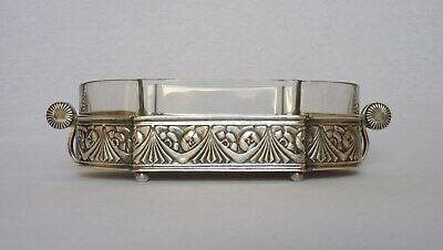Srunning VINTAGE FRENCH ART DECO SILVER-PLATE JARDINIERE with glass insert
