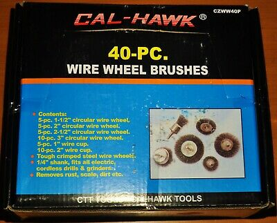 "40 piece Wire Wheel Brushes Cup Assortment Crimped Steel 1/4"" Inch Shank Drill"