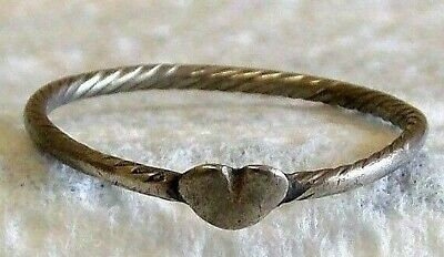 Medieval Silver Celtic Love Heart Torc Ring 15th Century