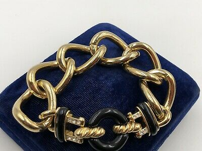 VINTAGE RARE GIVENCHY PARIS NEW YORK THICK GOLD CHAIN ART DECO REVIVAL Bracelet