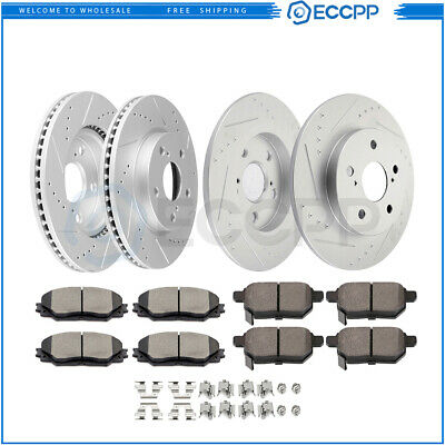 Fit 2008-2015 Scion xB Front Rear PSport Drill Slot Brake Rotors+Ceramic Pads