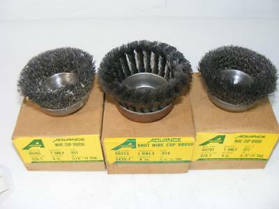 """Advance Wire Cup Brush 2- 00291 4"""" .011 and 1- 00215 4"""" .014"""
