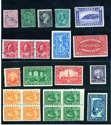 Early Better Canada Stamp Lot - 15 Stamps with Mint and Used Multiples/Blocks