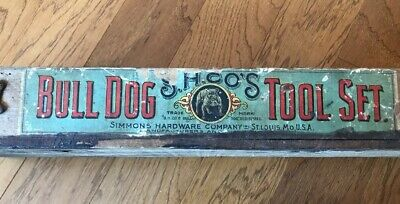 BULL DOG Old Antique Wooden Tool Box Machinist Simmons Hardware Co -No Top