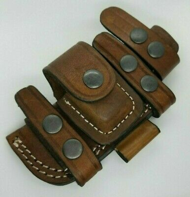 "Horizontal Scout Style Knife Sheath Pouch Genuine Leather Fits Up to 4.5"" blade"