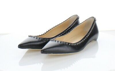 cheap for discount 5392c f35da 3117 CHRISTIAN LOUBOUTIN Anjalina Black Leather Spiked Flats Women's Sz 38 M