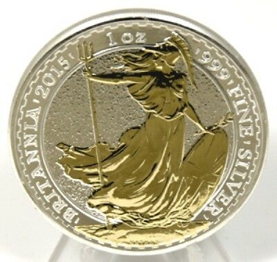 2015 UK Great Britain - Britannia - Gold Gilt - 1 Oz Silver