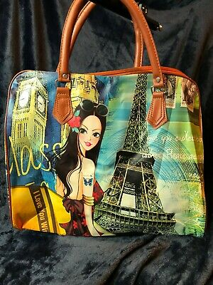 Travel Girl World Travel Print Luggage Handle Shoulder Strap Bag - Mult. Designs