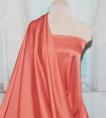 """Satin Chiffon Coral 209  Silky Dull Fabric  60 """" ..Formal, Lingerie , Dresses,"""